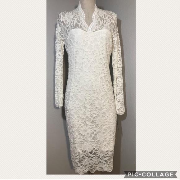 3c7db39c2285 Marina Cream lace long sleeve bodycon dress 10